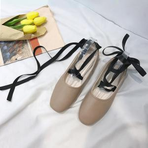 Chaussures plates Criss Cross Strap Lace Up - Kaki 38