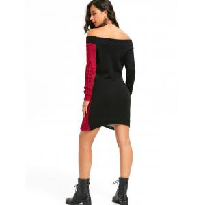 Skeleton Off The Shoulder Distressed Jumper Dress - BLACK RED M