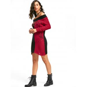 Skeleton Off The Shoulder Distressed Jumper Dress - Noir Rouge L