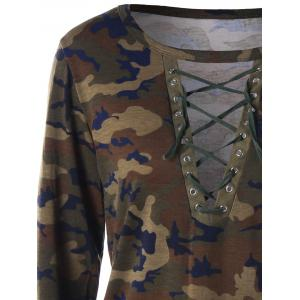 Camouflage Lace Up Top -