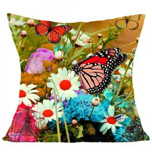 Flowers and Butterfly Pattern Square Pillow Case -