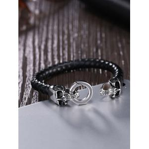 Skulls Embellished Weaving Faux Leather Bracelet -