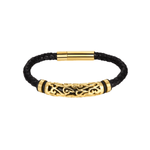 Hollow Out Carve en alliage de tissage Bracelet en faux cuir - Or