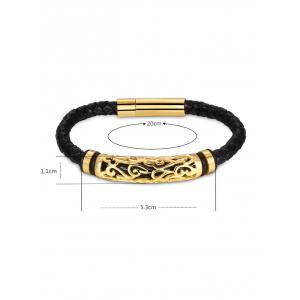 Hollow Out Carve Alloy Weaving Faux Leather Bracelet -