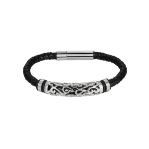 Hollow Out Carve en alliage de tissage Bracelet en faux cuir - Argent
