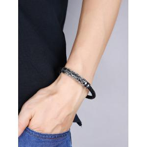 Hollow Out Carve en alliage de tissage Bracelet en faux cuir -