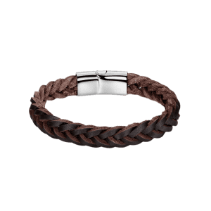 Faux Leather Braid Cool Bracelet - BROWN