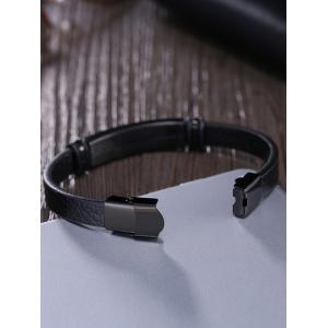 Vintage Faux Leather Bracelet - BLACK