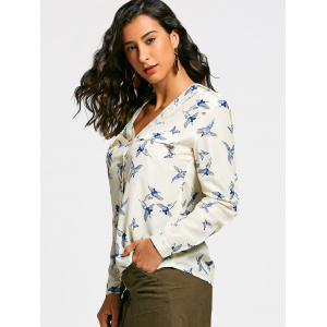 V Neck Long Sleeve Full Bird Print Shirt - BEIGE M