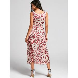 Bohemian Style Printed Sleeveless Porcelain Maxi Dress For Women - RED ONE SIZE
