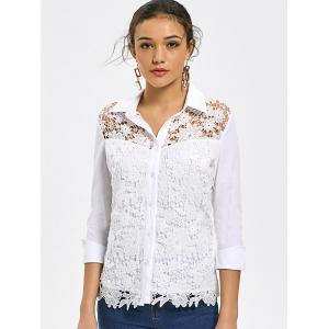 Button Up Lace Hollow Out Shirt - WHITE L