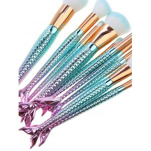 10 Pieces Ombre Fantasy Fishtail Powder Brush Kits - GRADUAL BLUE
