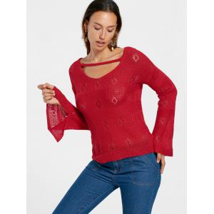 Red L Open Knitted Flare Sleeve Keyhole Sweater | RoseGal.com