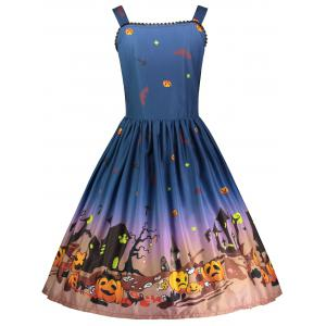 Halloween Plus Size Pumpkin Spaghetti Strap Dress -