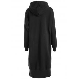 Plus Size Slit Longline Drop Shoulder Hoodie -