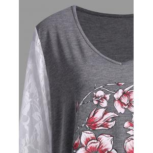 Plus Size Halloween Floral Skull Lace Panel T-shirt -