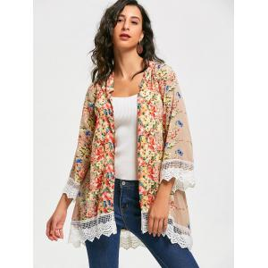 Collarless Lace Trim Long Floral Kimono -