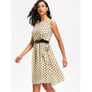 Retro Style Boat Neck Sleeveless Polka Dot Dress For Women -