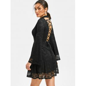 Back Tie-up Mock Neck Gothic Lace Dress -