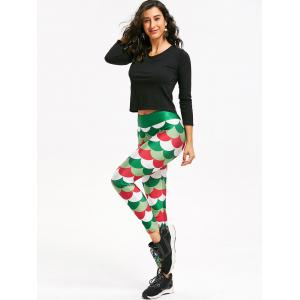 Christmas Fish Scale Print Mermaid Leggings -