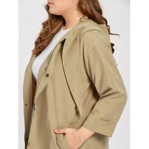 Plus Size Faux Sueded Long Zip Up Hooded Coat -