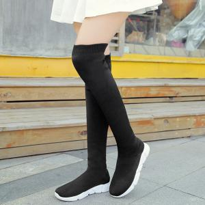 Low Heel Round Toe Over The Knee Boots -