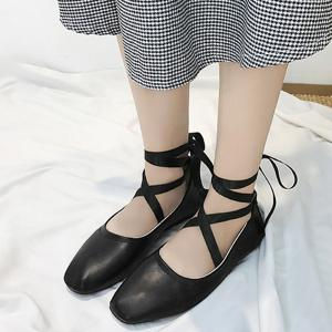Ankle Strap Lace Up Criss Cross Flat Shoes -