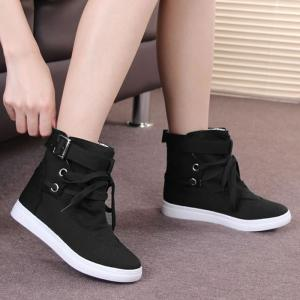 Bukle Strap Casual Canvas Ankle Boots -