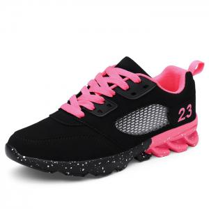 Number Embroidered Splatter Paint Sole Sneakers -