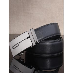 Stylish Polished Geometric Automatic Buckle Wide Belt -