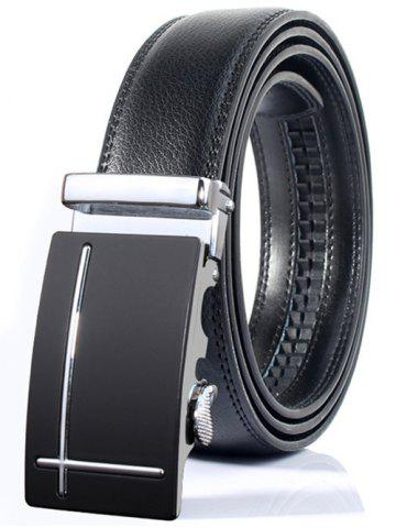 Fancy Polished Perpendicular Line Automatic Buckle Wide Formal Belt SILVER