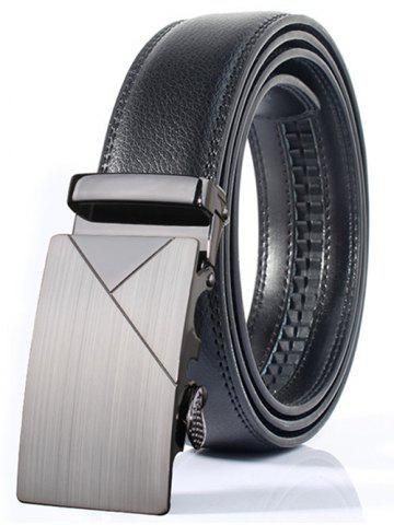 Fashion Polished Geometric Automatic Buckle Wide Belt