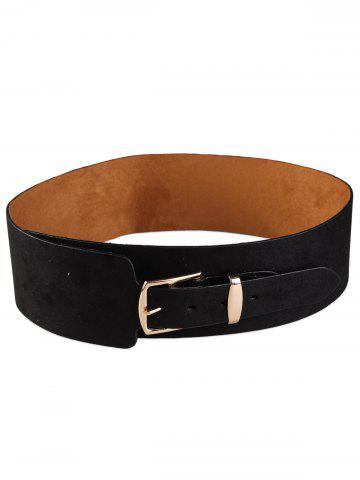 black retro metal buckle embellished wide waist belt