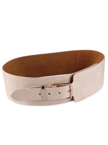 Best Retro Metal Buckle Embellished Wide Waist Belt - BEIGE  Mobile