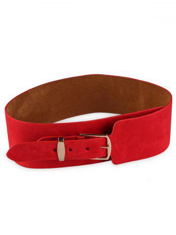 Outfit Retro Metal Buckle Embellished Wide Waist Belt RED