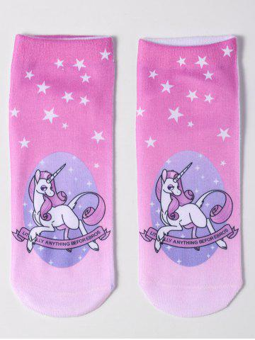 Buy Magical Unicorn Pattern Ankle Socks - PINK  Mobile