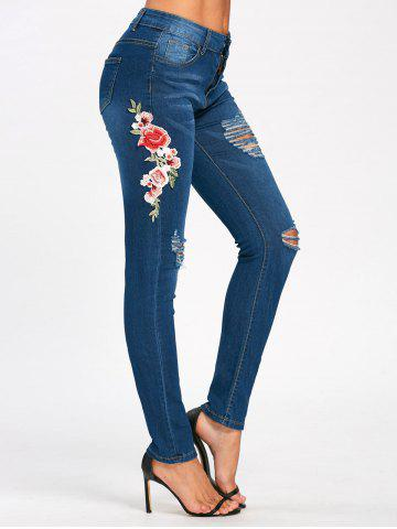 Cheap Embroidery Ripped Pencil Jeans