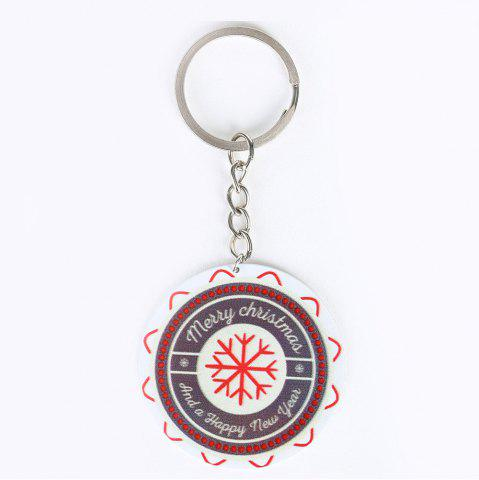 Unique Christmas Snowflake Round Metal Key Chain