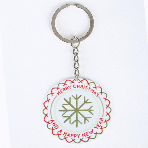 Best Christmas Snowflake Round Metal Key Chain - WHITE  Mobile