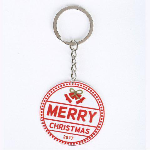 Store Metal Round Christmas Letter Key Chain - RED  Mobile