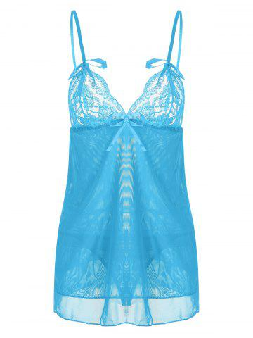 Shop Tier Mesh Plunge Slip Babydoll CLOUDY ONE SIZE