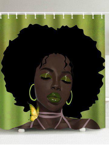 Sale Afro Hair Lady Immersed In Her Own World Shower Curtain - 180*200CM COLORMIX Mobile