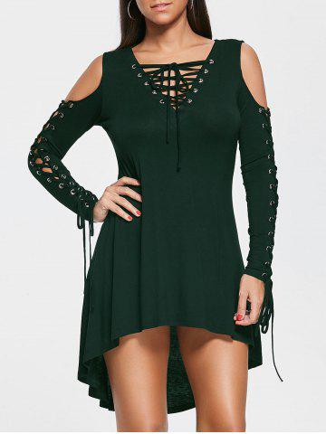 Shop Open Shoulder Lace Up Tee Dress - 2XL BLACKISH GREEN Mobile