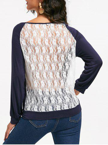 New Sweet Hollow Out Lace Spliced Long Sleeve Pullover Sweatshirt For Women - L PURPLISH BLUE Mobile