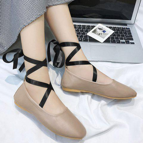 Chaussures plates Criss Cross Strap Lace Up Kaki 39