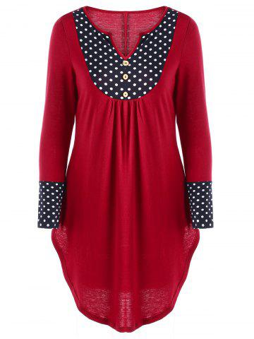 Cheap Polka Dot Curved Hem Tunic Top - XL RED Mobile