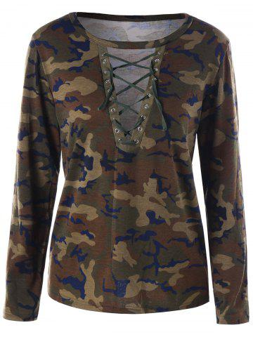 New Camouflage Lace Up Top