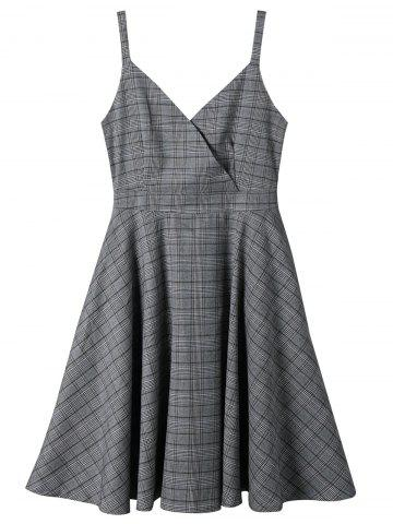 Fancy Surplice Neck Spaghetti Strap Plaid Dress