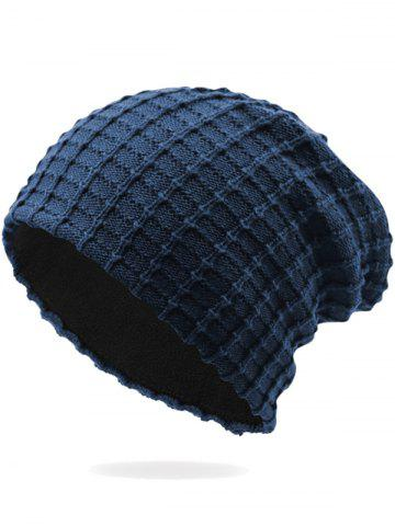 Latest Outdoor Soft Plaid Pattern Velvet Thicken Beanie - DEEP BLUE  Mobile