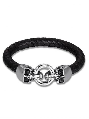 Sale Skulls Embellished Weaving Faux Leather Bracelet